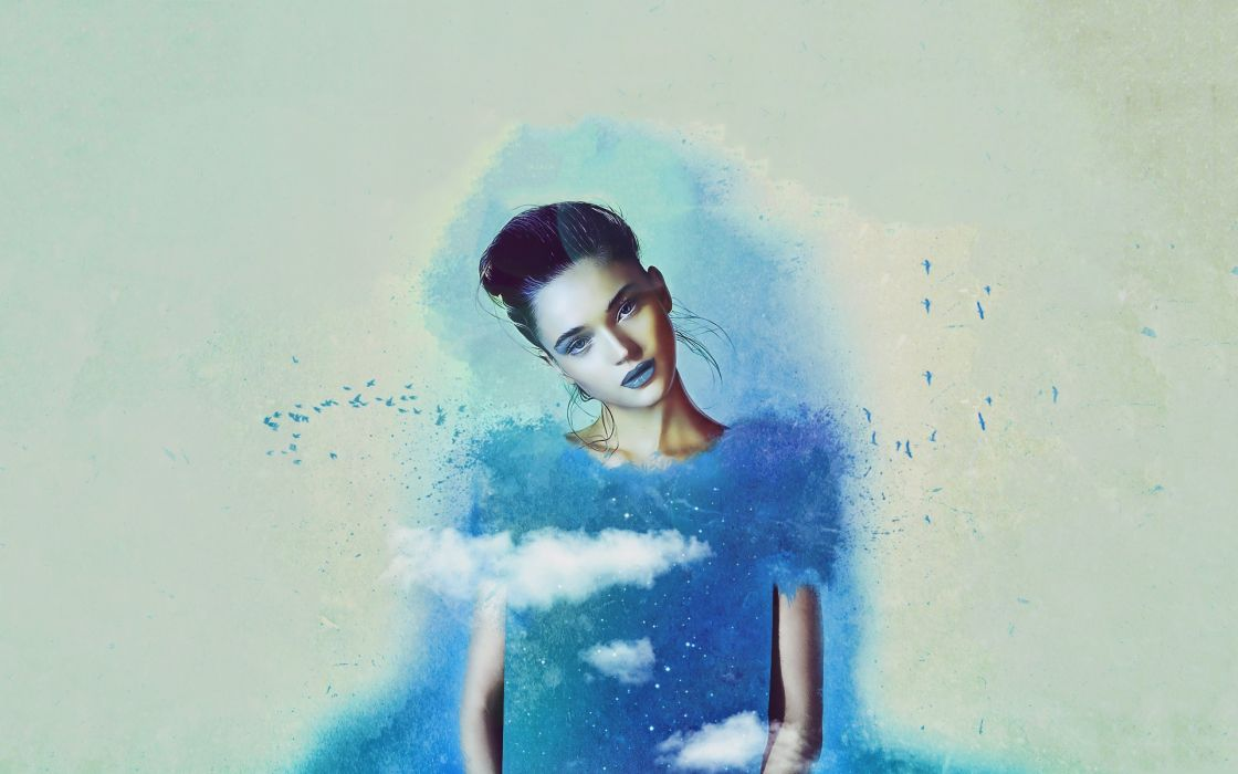 women clouds birds blue eyes models artwork Rosie Tupper photo manipulation blue background wallpaper