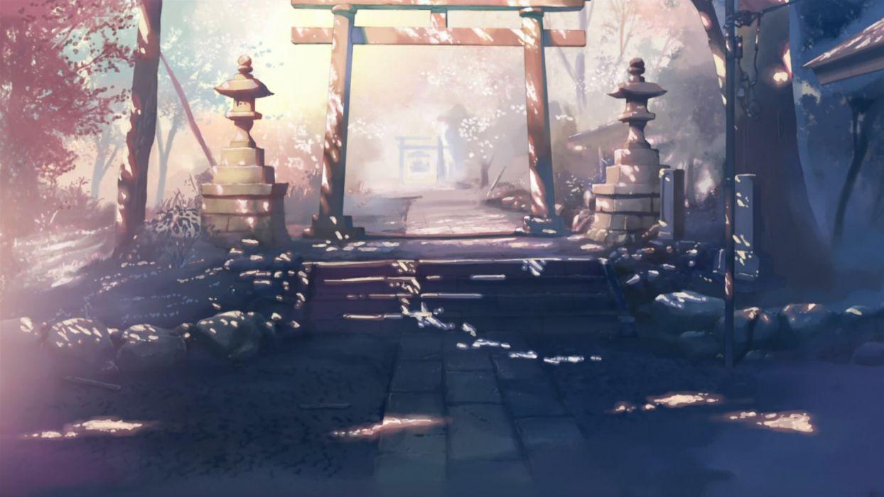 landscapes Makoto Shinkai gate 5 Centimeters Per Second torii wallpaper