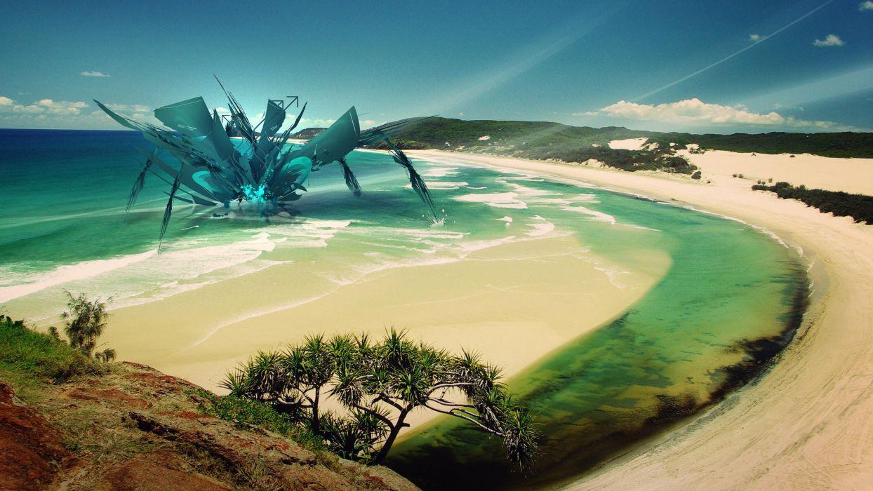 monsters tropical fantasy art digital art beaches wallpaper