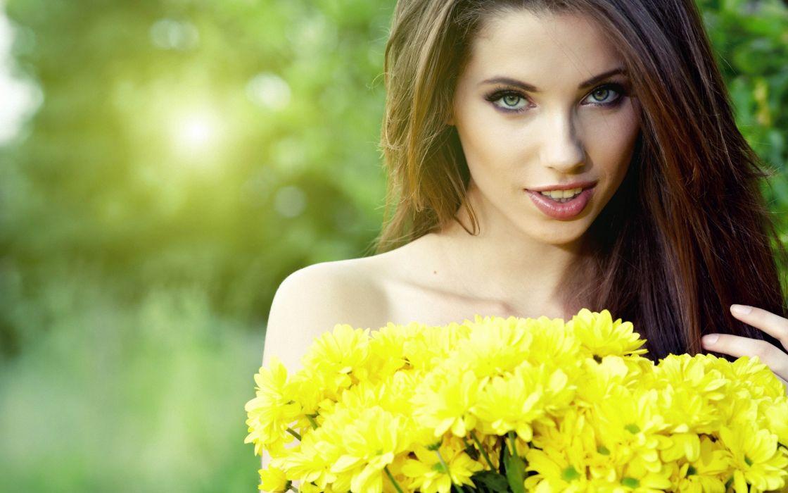 brunettes women flowers wallpaper