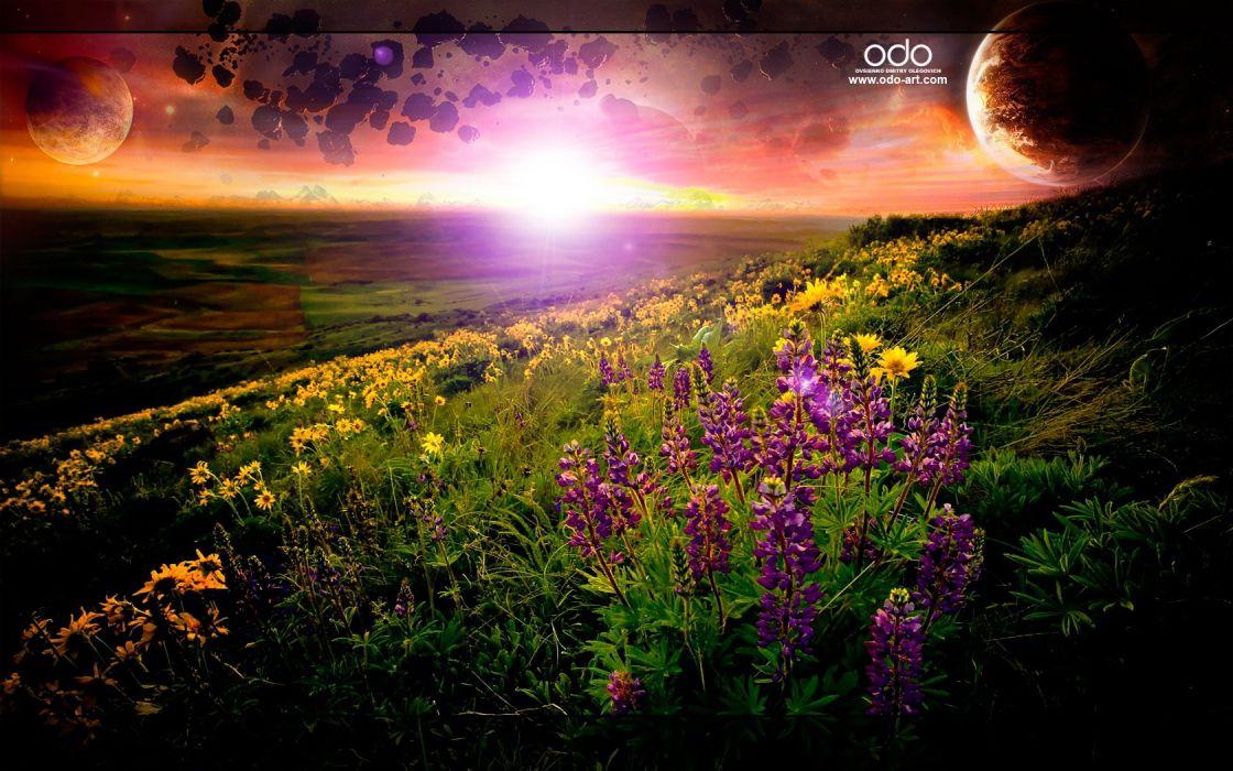 sunset sunrise landscapes Sun fields photo manipulation wallpaper