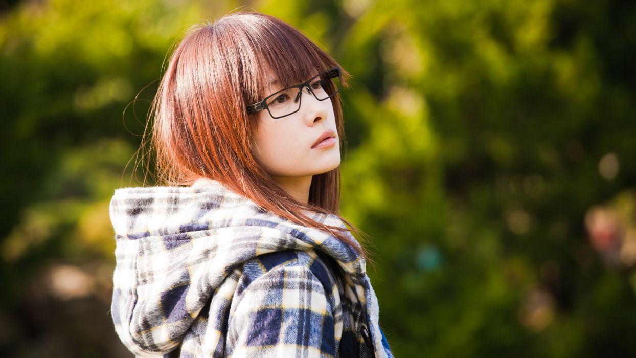 women glasses Japanese Asians bangs girls with glasses models asian girls wallpaper