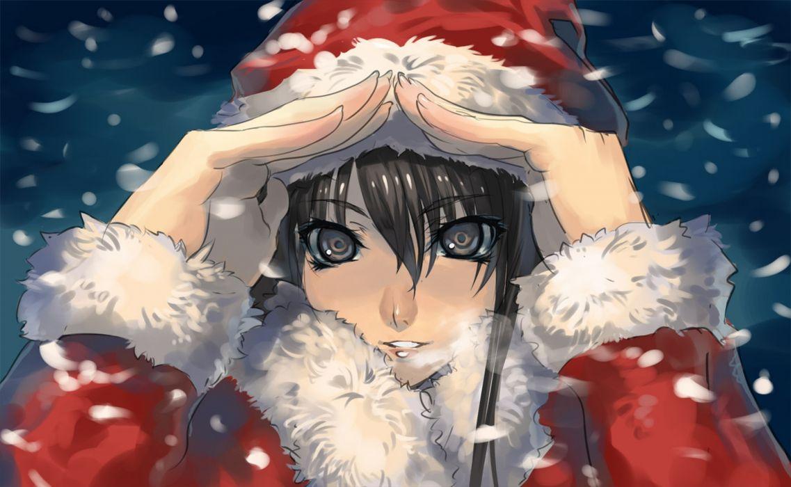 snow brown eyes anime Christmas outfits anime girls wallpaper
