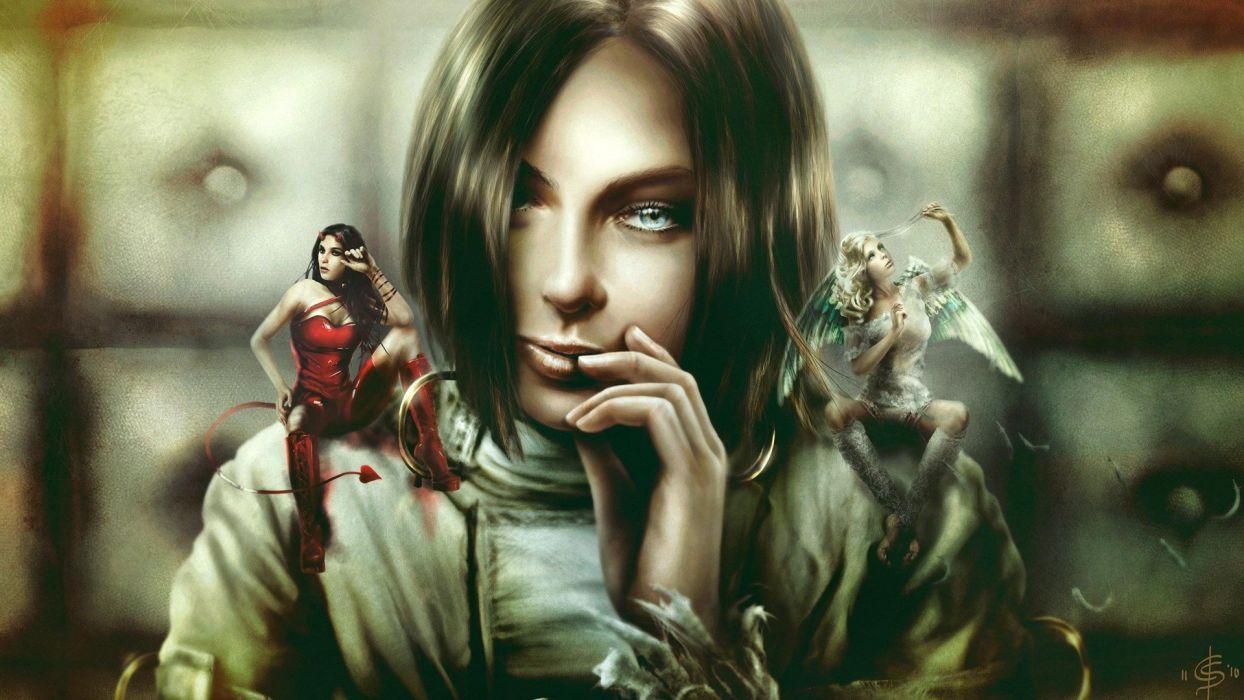 brunettes angels women fantasy devil fantasy art digital art artwork wallpaper