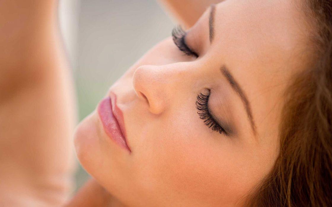 brunettes women close-up Emily Addison faces wallpaper