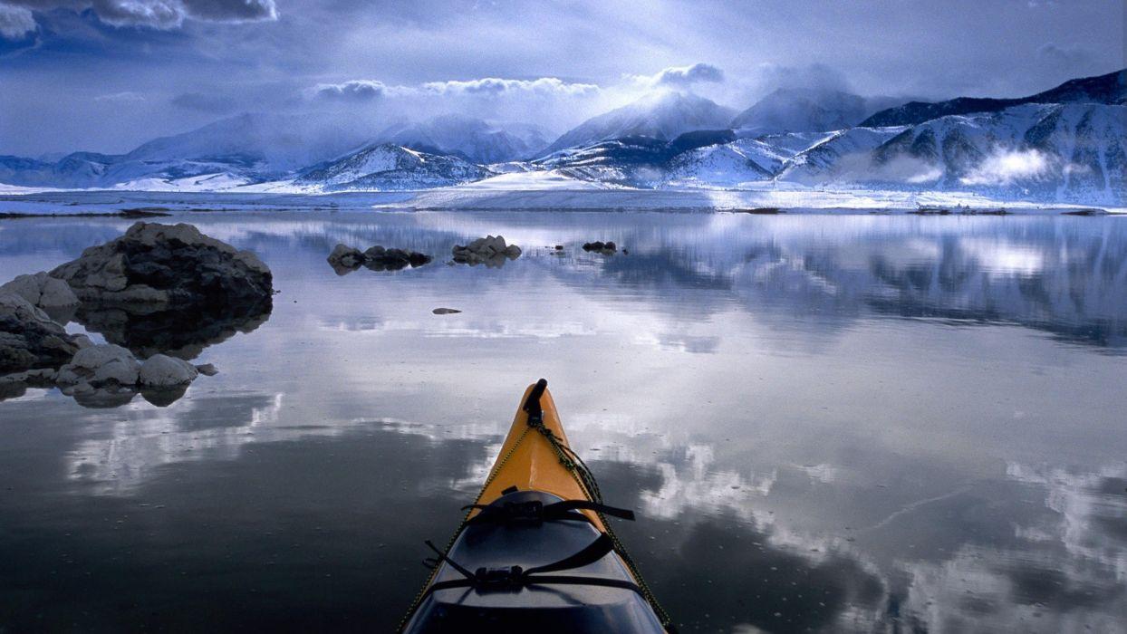 water clouds nature winter California boats kayak reflections Mono Lake wallpaper