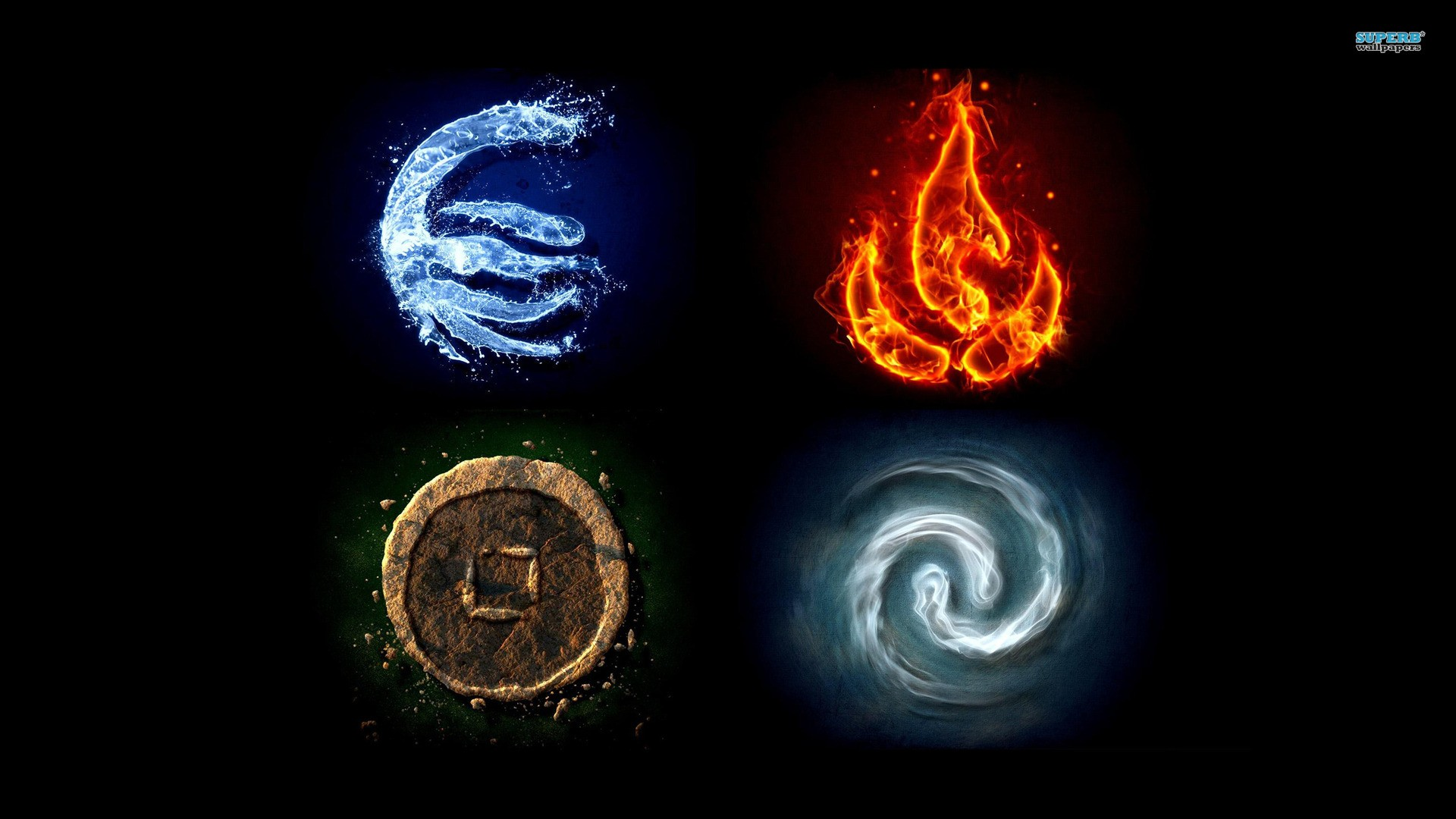 Water Fire Earth Avatar The Last Airbender Air Symbols The Elements
