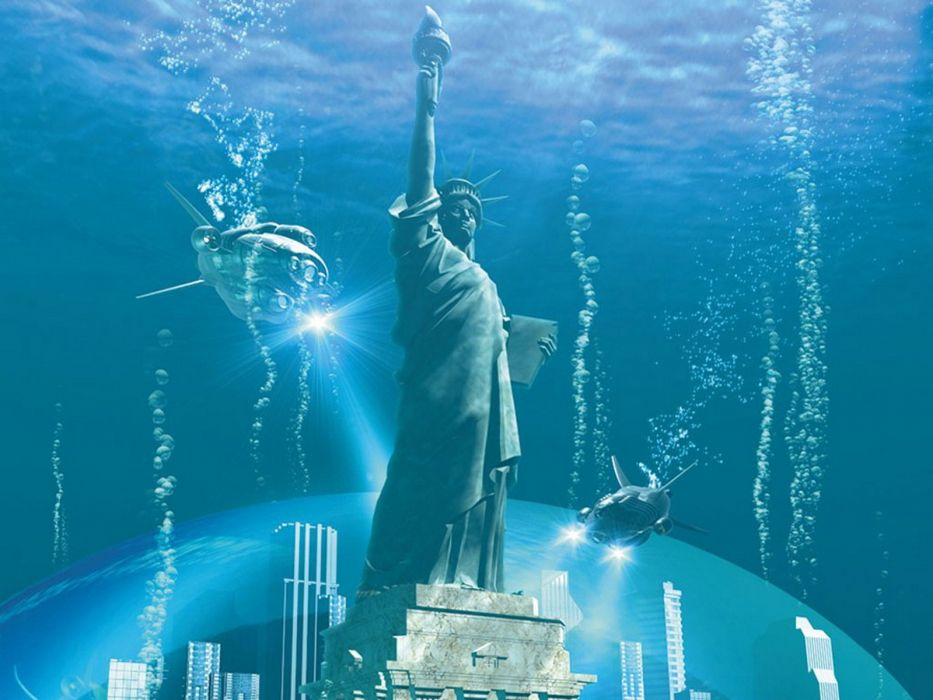 submarine Statue of Liberty underwater wallpaper
