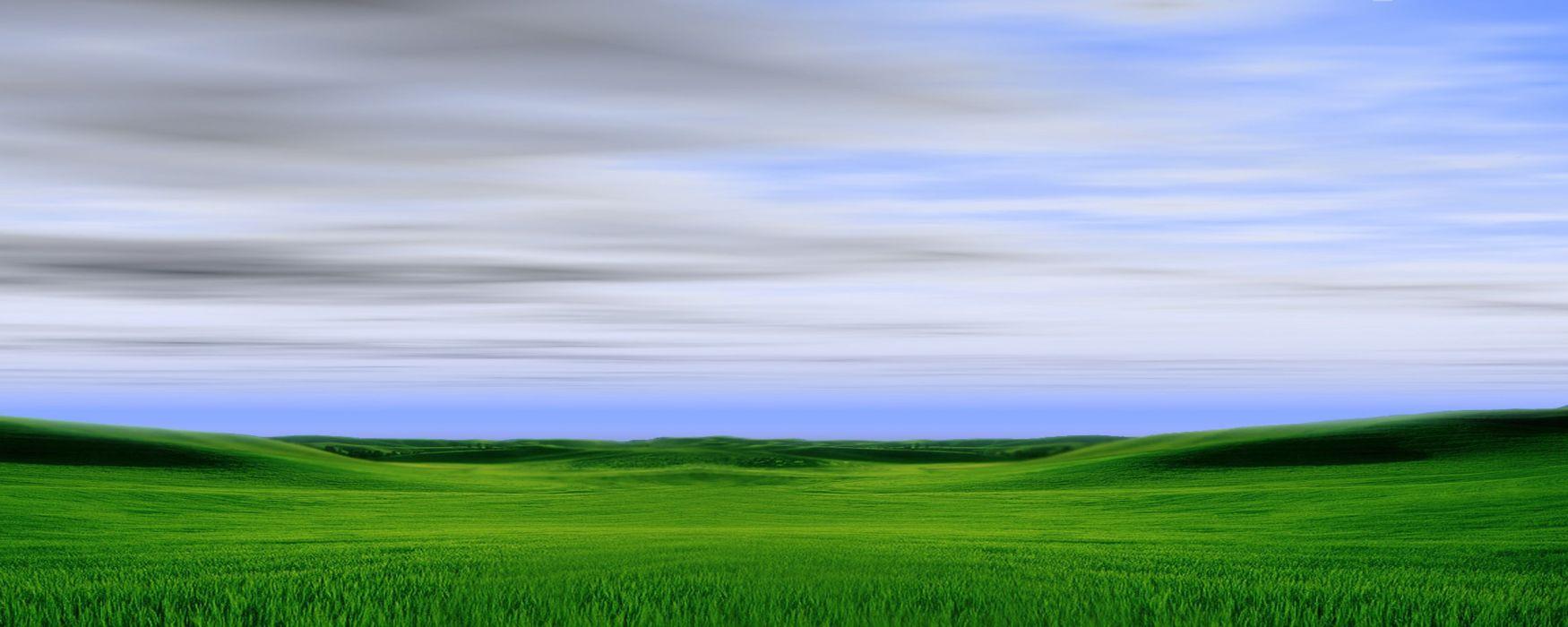 clouds landscapes Windows XP duel multiscreen wallpaper