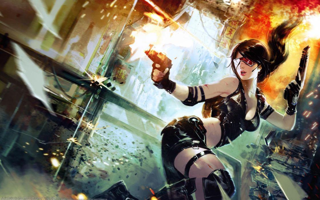 women guns glasses weapons cyberpunk artwork girls with glasses wallpaper