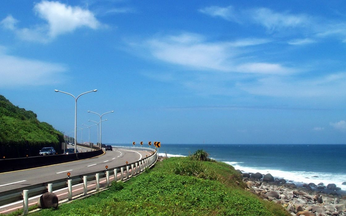 clouds nature coast roads Taiwan roadsigns skyscapes blue skies sea wallpaper