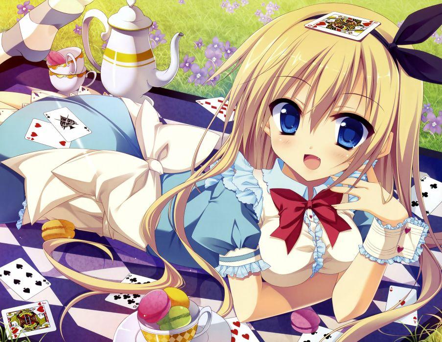 alice in wonderland alice (wonderland) blonde hair blue eyes blush fang matsumiya kiseri wallpaper