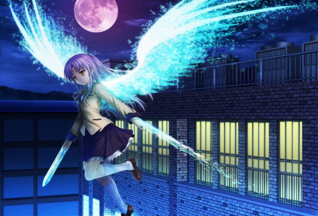 angel beats! kneehighs long hair moon moonknives night skirt sky tachibana kanade white hair wings yellow eyes wallpaper