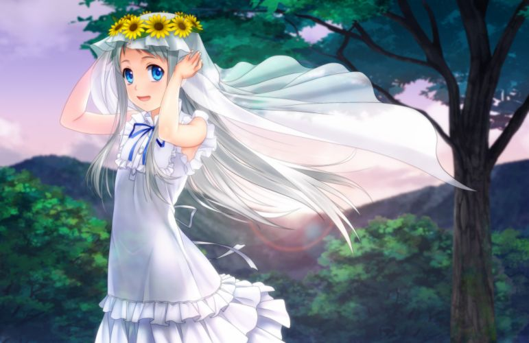 ano hi mita hana no namae wo bokutachi wa mada shiranai blue eyes dress flowers headdress honma meiko long hair moonknives ribbons tree white hair wallpaper