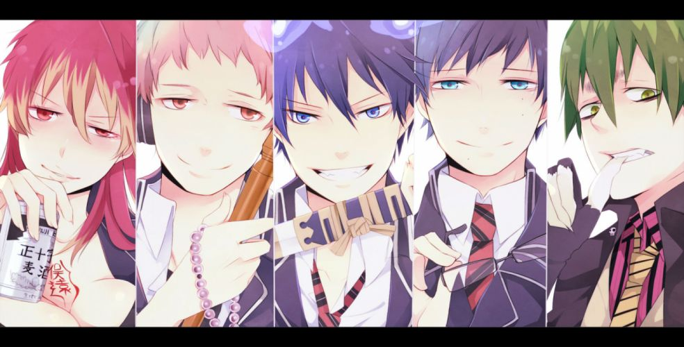 ao no exorcist blue eyes cleavage close drink fang glasses green eyes okumura rin okumura yukio orange eyes red eyes shima renzou sword weapon wallpaper