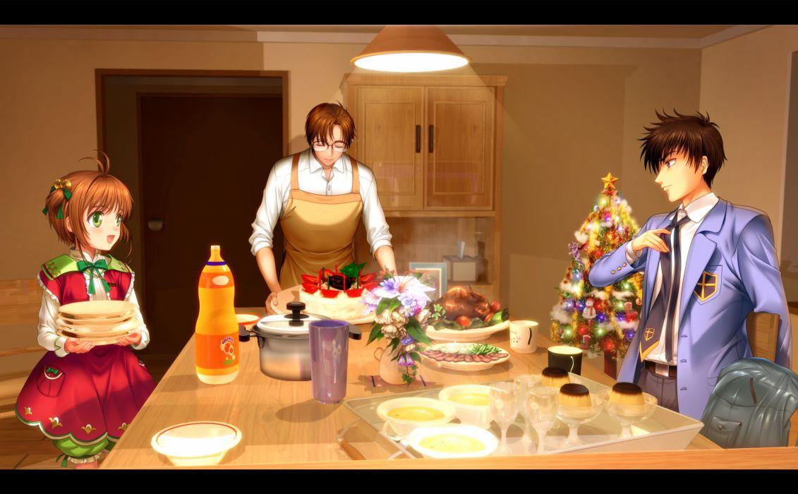 card captor sakura black eyes black hair brown hair christmas flowers food glasses green eyes kinomoto sakura kinomoto touya moonknives ribbons seifuku short hair wallpaper