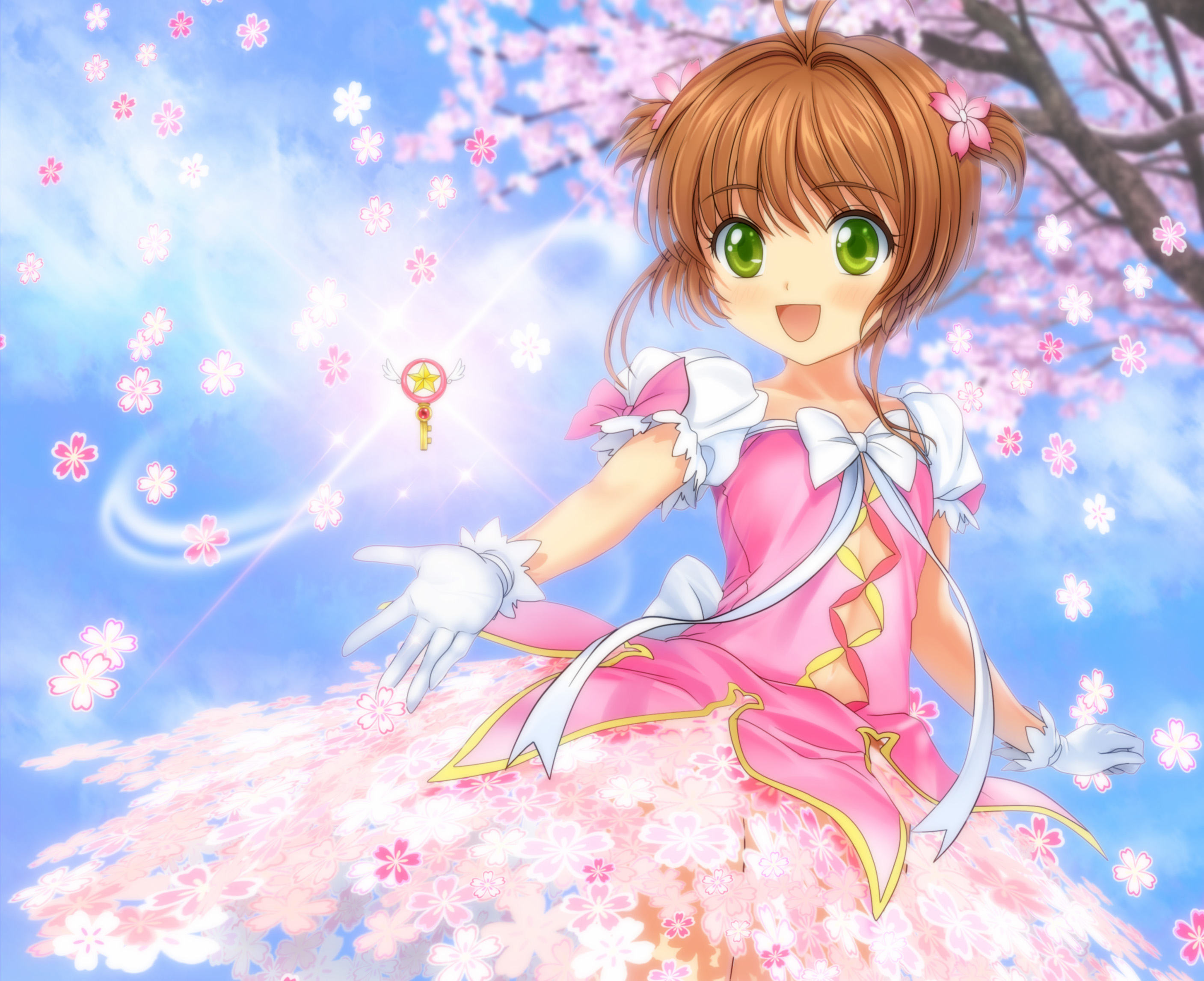 card captor sakura cherry blossoms dress gloves green eyes kinomoto