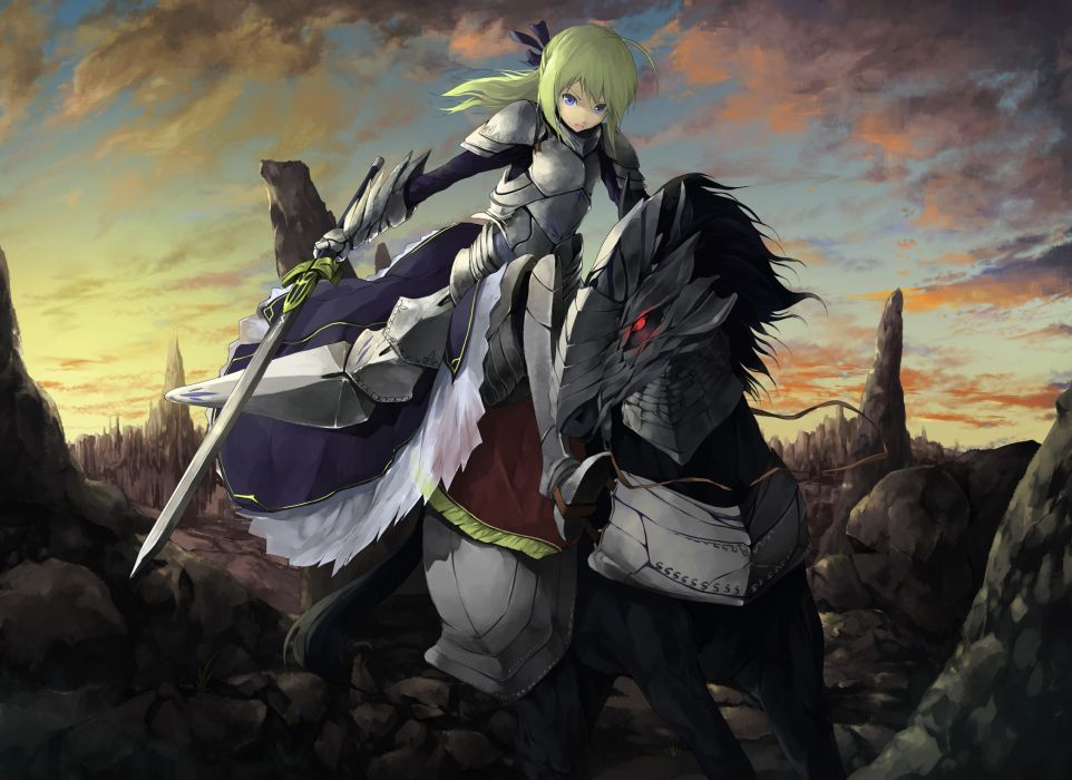 fate stay night animal armor blonde hair blue eyes dress fate stay night horse long hair ribbons saber sword tyappygain weapon wallpaper