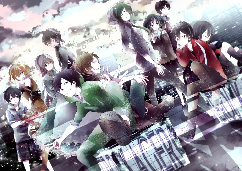kagerou project black eyes city group headphones kano shuuya kido tsubomi kisaragi momo kneehighs kozakura mary red eyes seifuku seto kousuke shikinui wink wallpaper