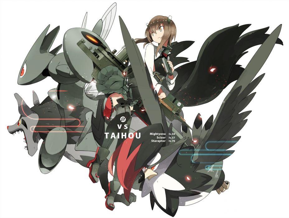 kantai collection crossover kantai collection mightyena pokemon scizor siirakannu staraptor taihou (kancolle) wallpaper