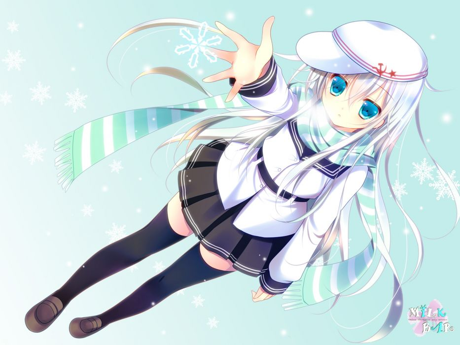kantai collection blue eyes hibiki (kancolle) kantai collection long hair scarf shirogane hina skirt thighhighs verniy (kancolle) white hair wallpaper