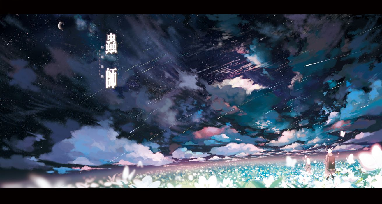 mushishi butterfly clouds flowers ginko moon mushishi night sarnath scenic sky smoking stars wallpaper