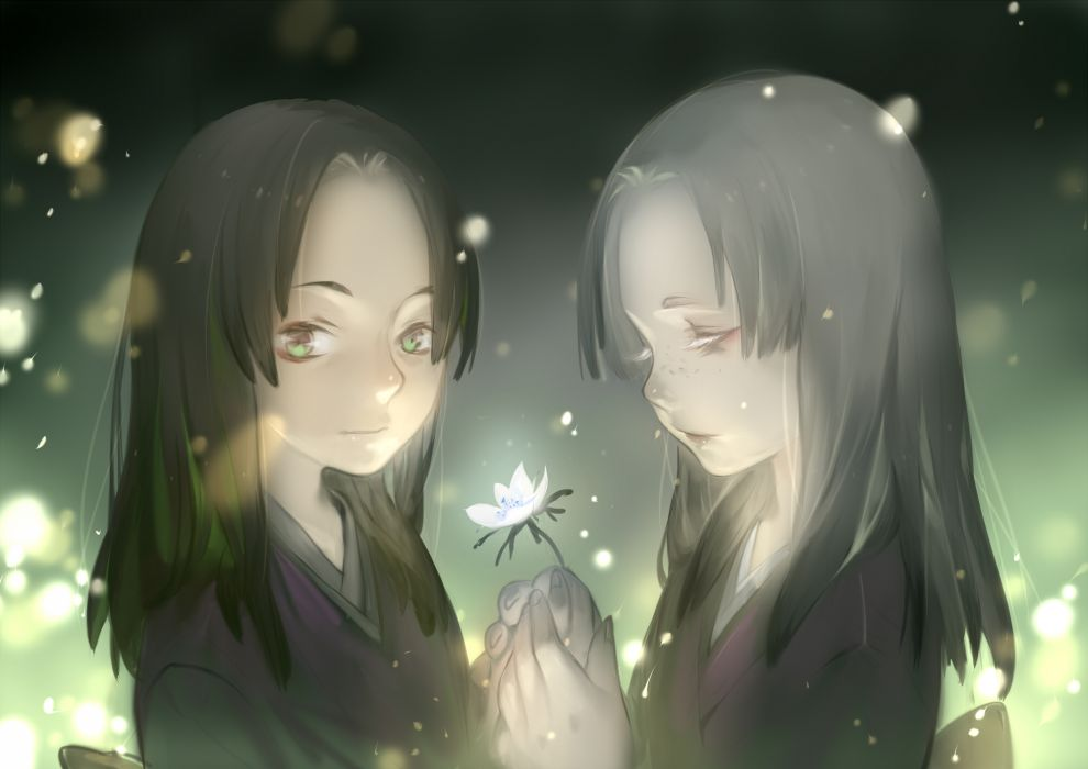 mushishi girls black hair flowers gray hair green eyes japanese clothes long hair luman mushishi wallpaper