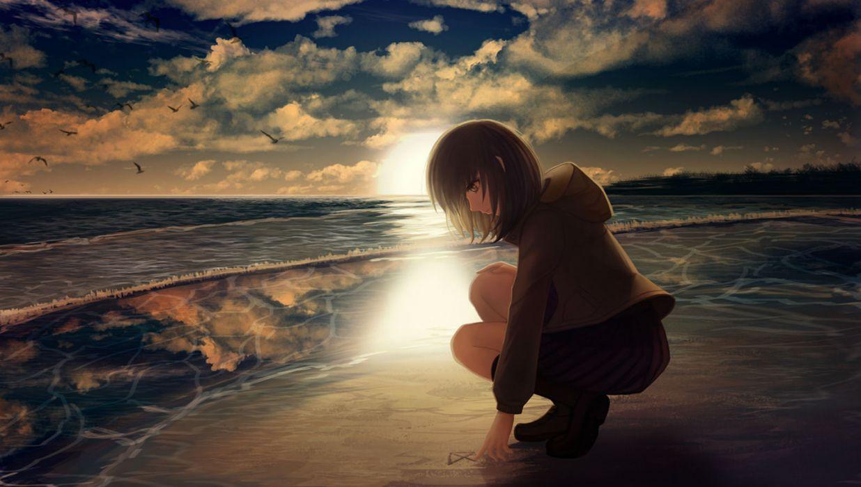 original animal aya (star) beach bird brown hair clouds kneehighs original scenic short hair skirt sky sunset water wallpaper