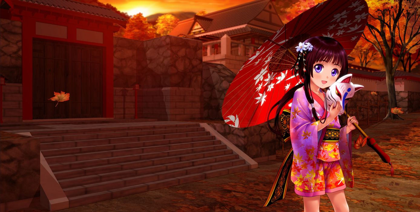 original autumn black hair blue eyes building japanese clothes jpeg artifacts leaves long hair mask moonknives original purple eyes sunset tree umbrella wallpaper