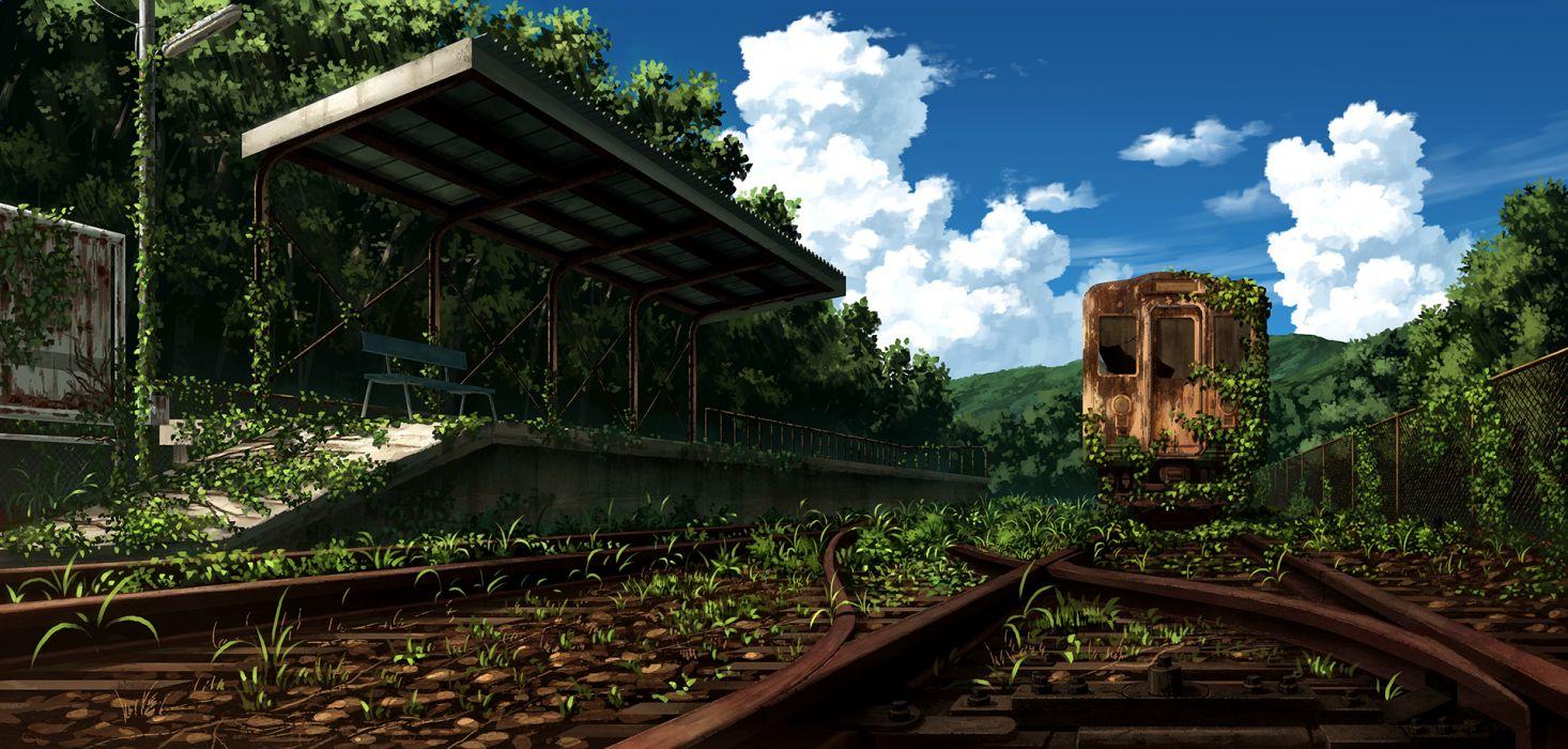 original clouds grass landscape nobody original ruins sakais3211 scenic sky train wallpaper