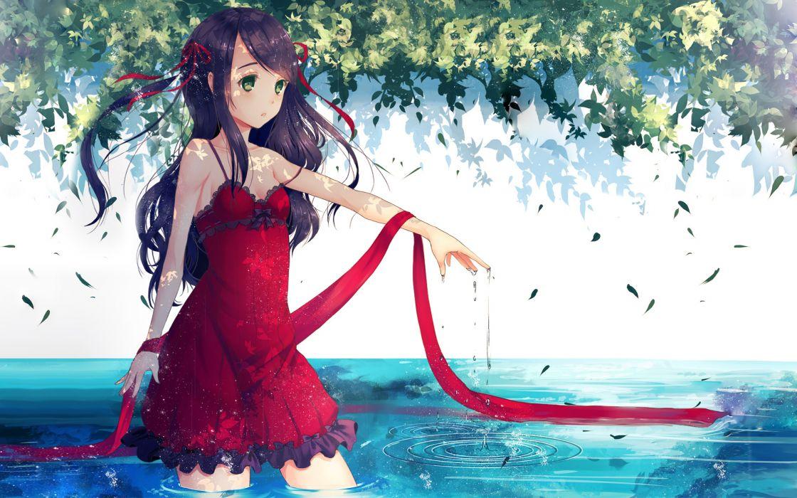 original dress green eyes jpeg artifacts long hair original photoshop purple hair ribbons water wallpaper