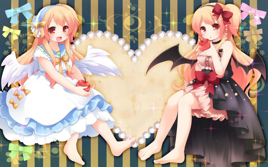 original girls apple barefoot dress orange eyes orange hair original ringo yuyu wings wallpaper