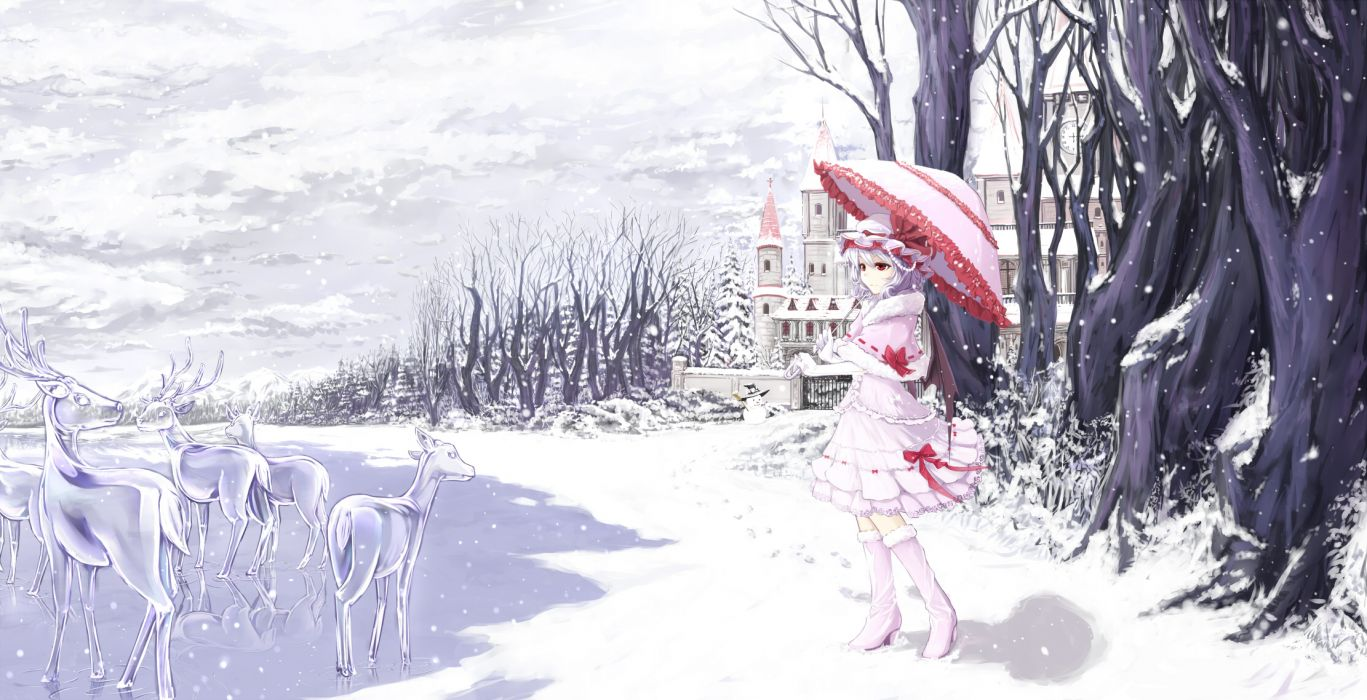 touhou deer animal blue hair boots bow building cloudy_r dress gloves hat kneehighs red eyes remilia scarlet short hair sky snow touhou tree umbrella winter wallpaper