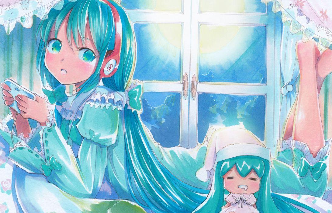 vocaloid aqua eyes aqua hair game console hatsune miku headphones long hair mayo riyo vocaloid wallpaper