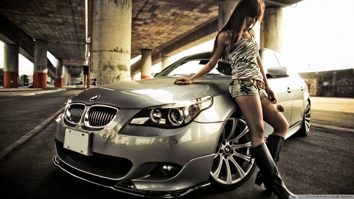 BMW and Hot Woman wallpaper
