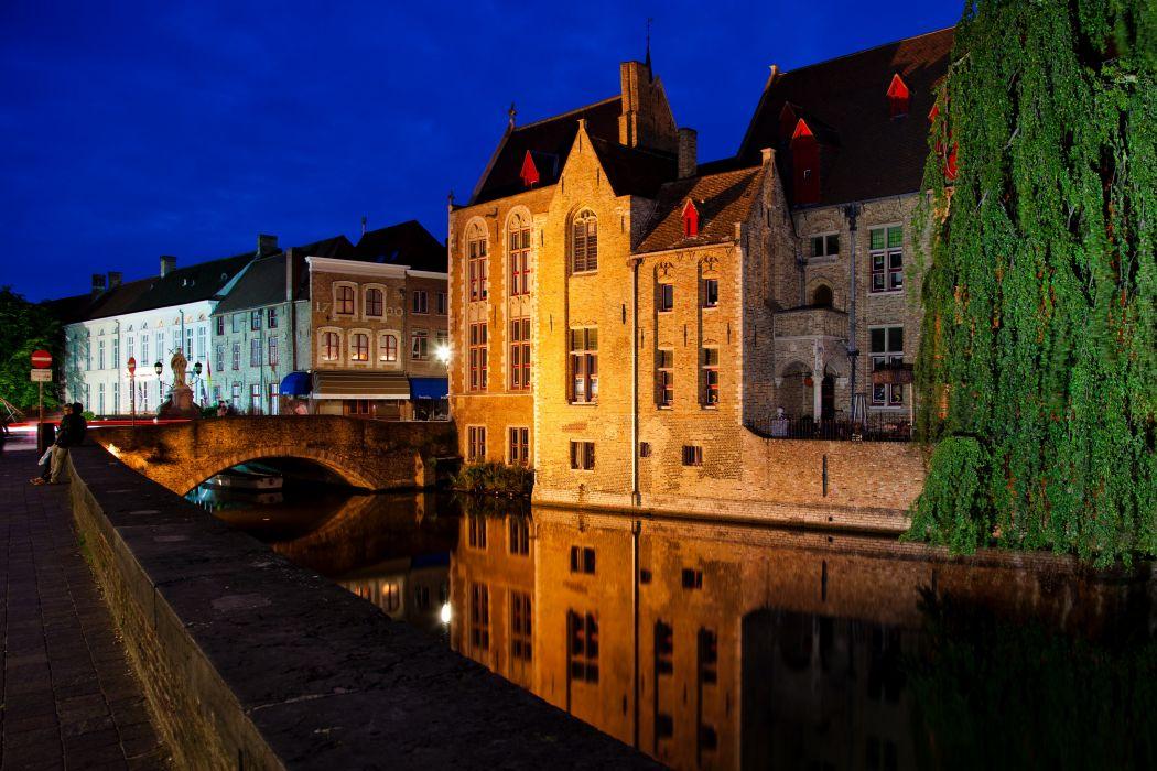 Belgium Bridges Houses Brugge Canal Night wallpaper