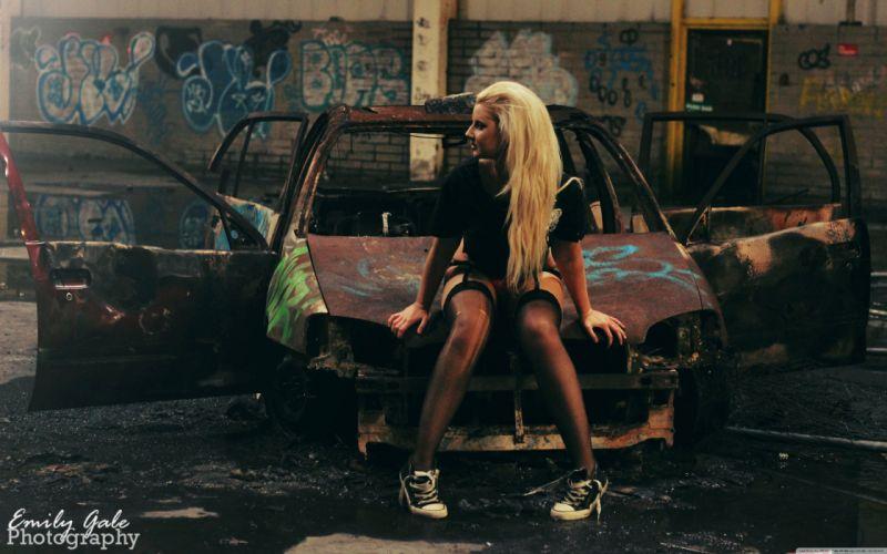 Stocking Girl - Scrap Car wallpaper