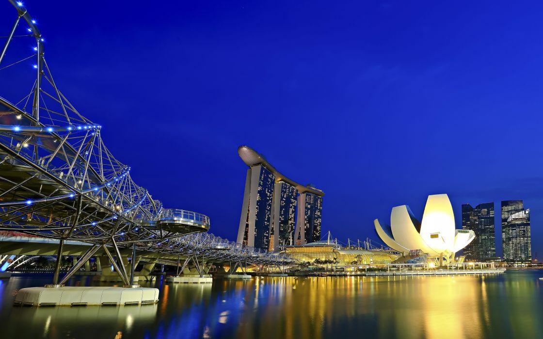 bridge Marina Bay Sands Singapore wallpaper