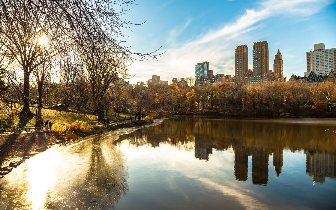 Buildings Lake Reflection Trees Sunlight New York Central Park autumn wallpaper