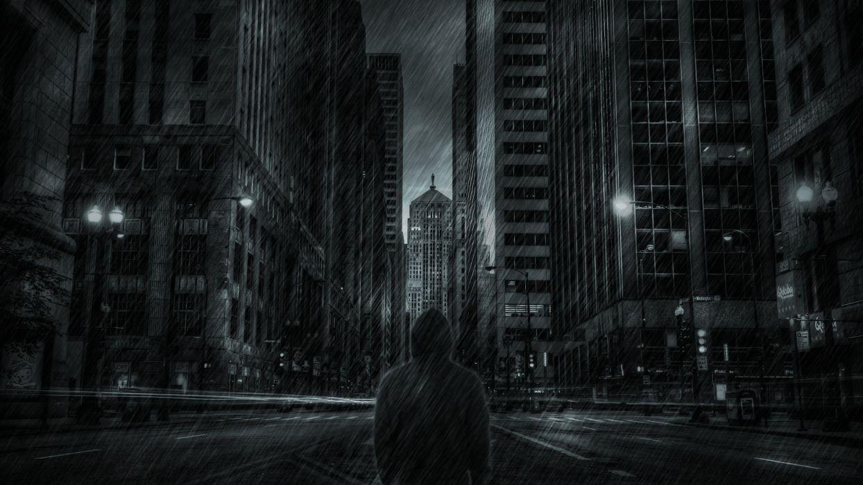Buildings Skyscrapers Hoodie Rain Storm mood dark wallpaper
