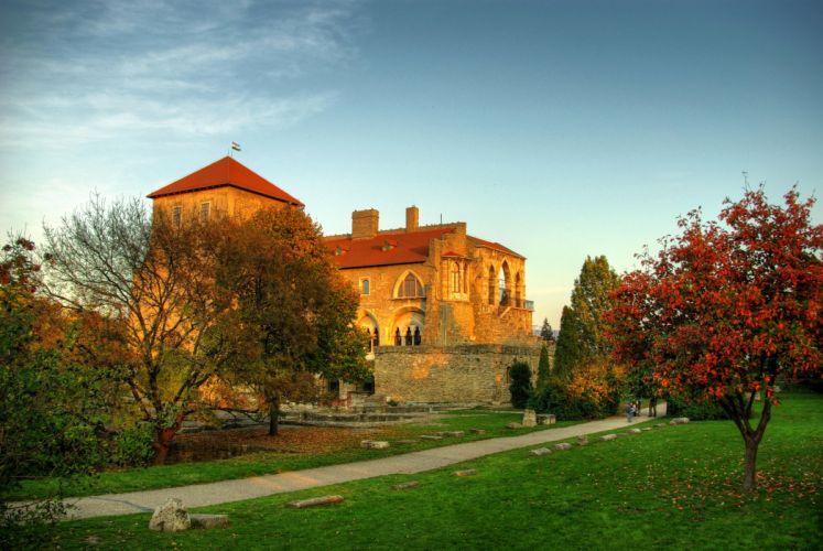 Castle Parks Hungary Tata Grass Tree wallpaper