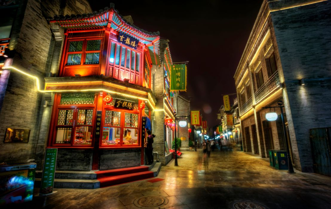 China Houses Beijing Night Street Street lights HDR wallpaper