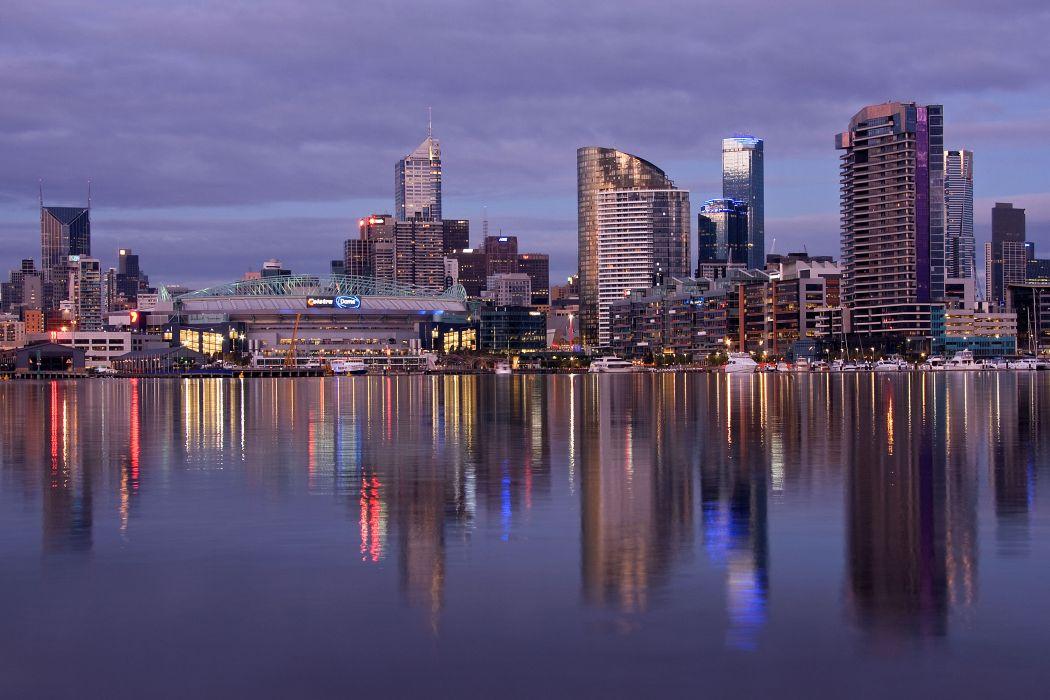 Docklands Melbourne Australia reflection     d wallpaper