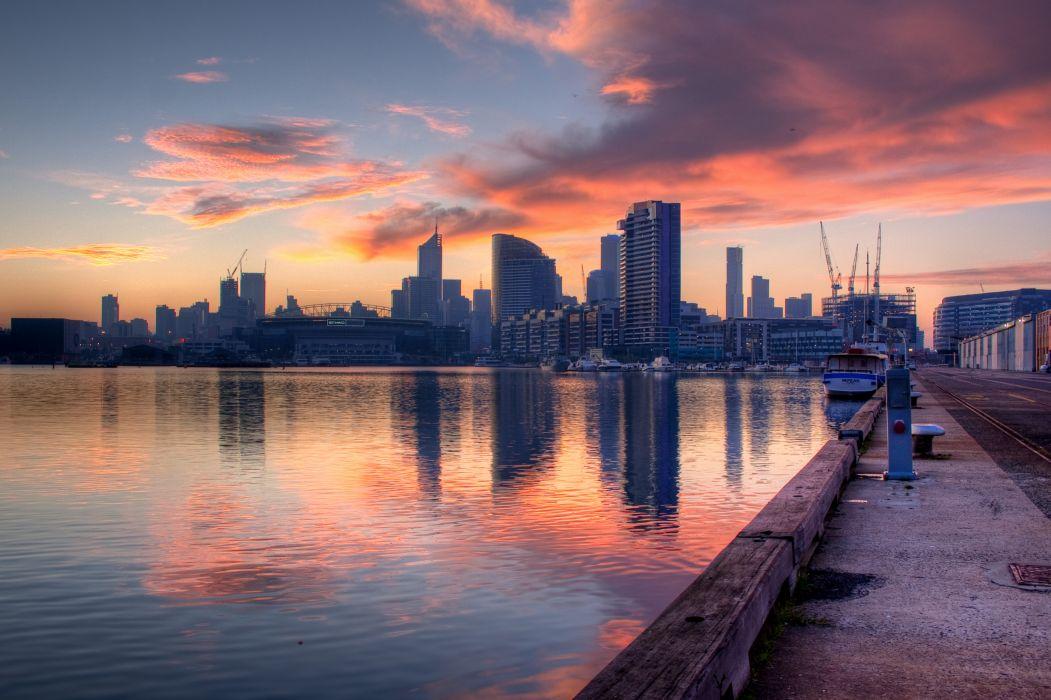 Docklands Melbourne Australia reflection    g wallpaper