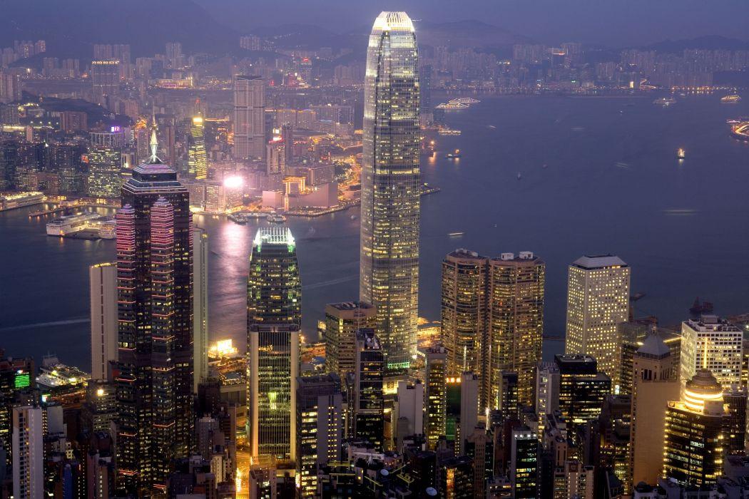 Hong Kong Harbor city lights wallpaper