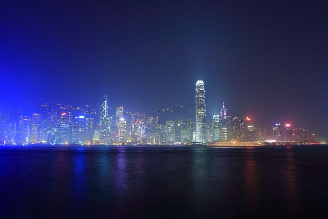 Hong Kong city night  f wallpaper