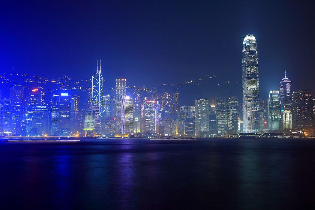 Hong Kong city night wallpaper
