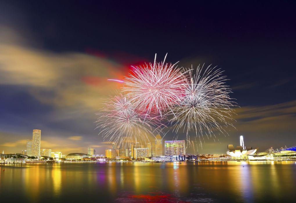 National Day Parade Singapore fireworks      d wallpaper