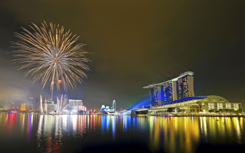 National Day Parade Singapore fireworks f wallpaper