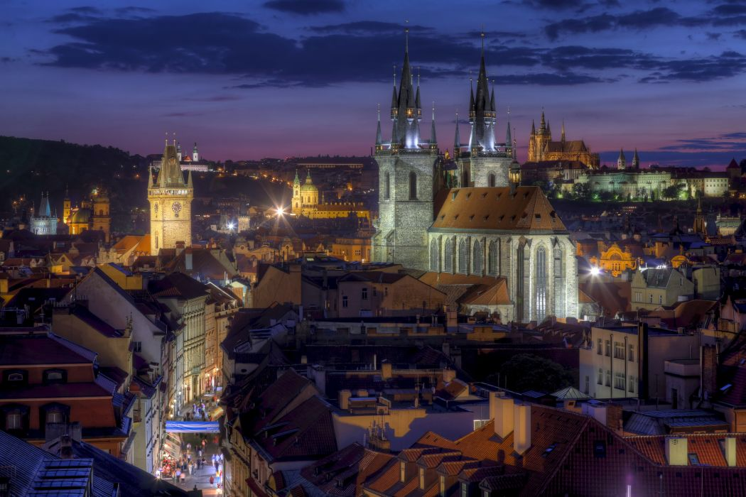 Prague Czech Republic Tyn Church building roof night city skyline wallpaper